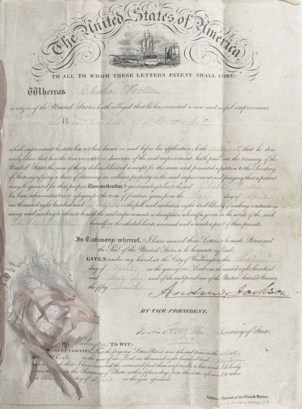 Andrew Jackson Autograph Executive Patent Signed.