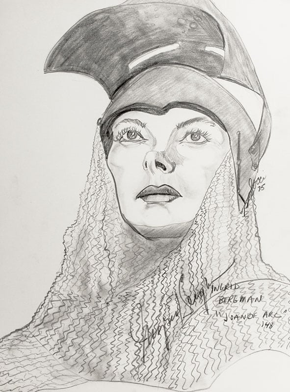 Ingrid Bergman Signed P.B. Socci Sketch.