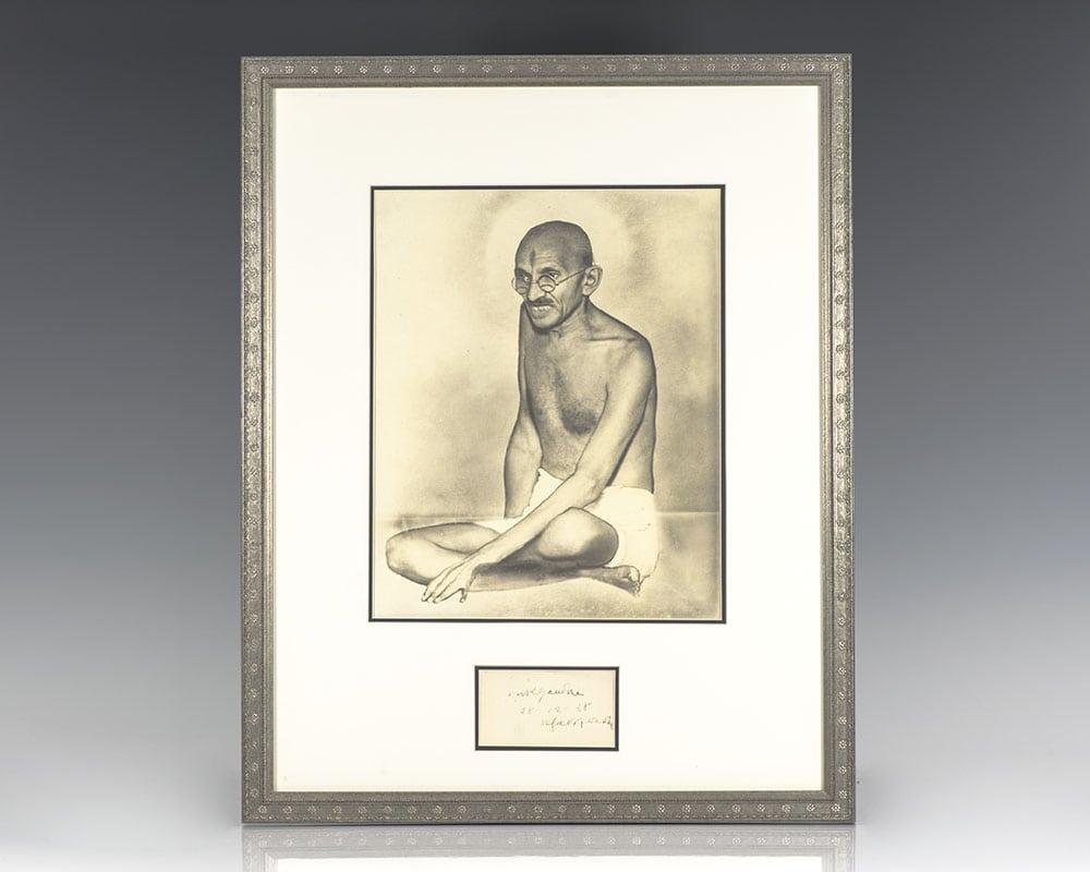 Mohandas K. Gandhi Autograph.