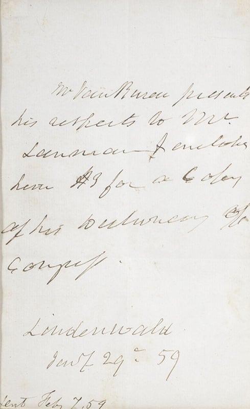 Martin Van Buren Autographed Note Signed.