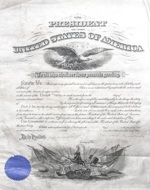 Document Signed by Theodore Roosevelt and Elihu Root.
