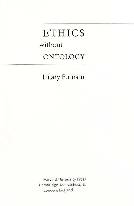 Ethics Without Ontology.