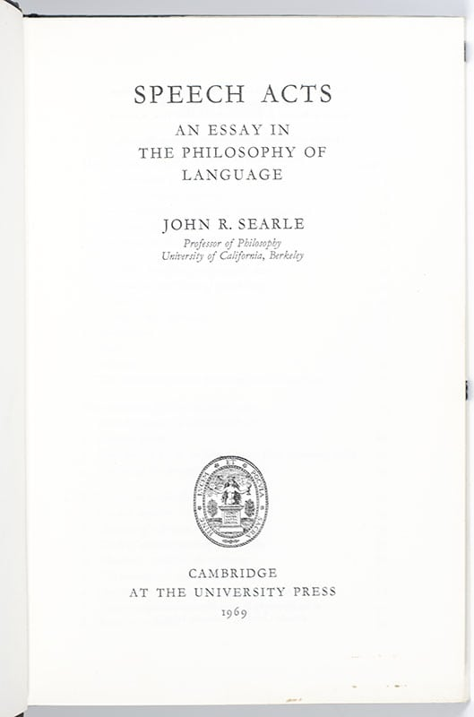 Speech Acts: An Essay in the Philosophy of Language.