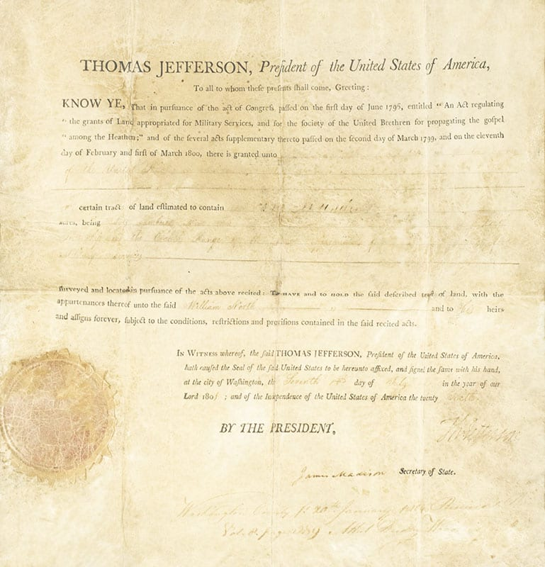 Thomas Jefferson and James Madison Autograph Military Document Signed.