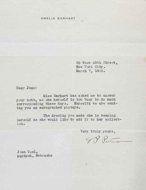 Amelia Earhart Signed Photograph.