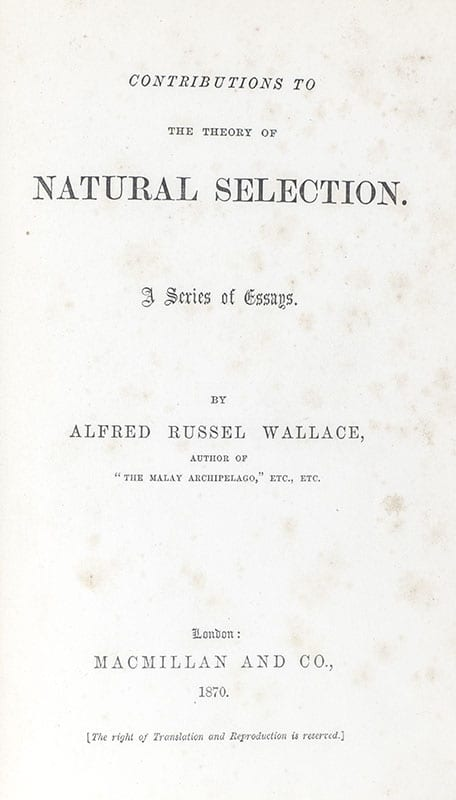 Contributions to the Theory of Natural Selection. A Series of Essays.