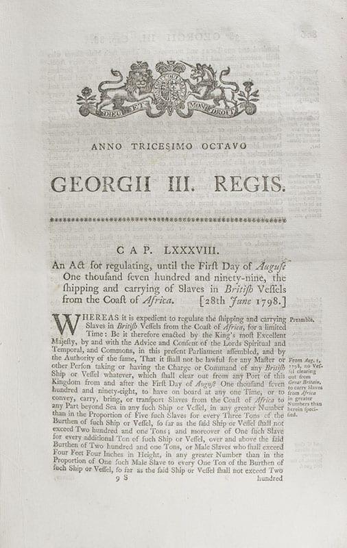 Three Royal British Slave Trade Acts.