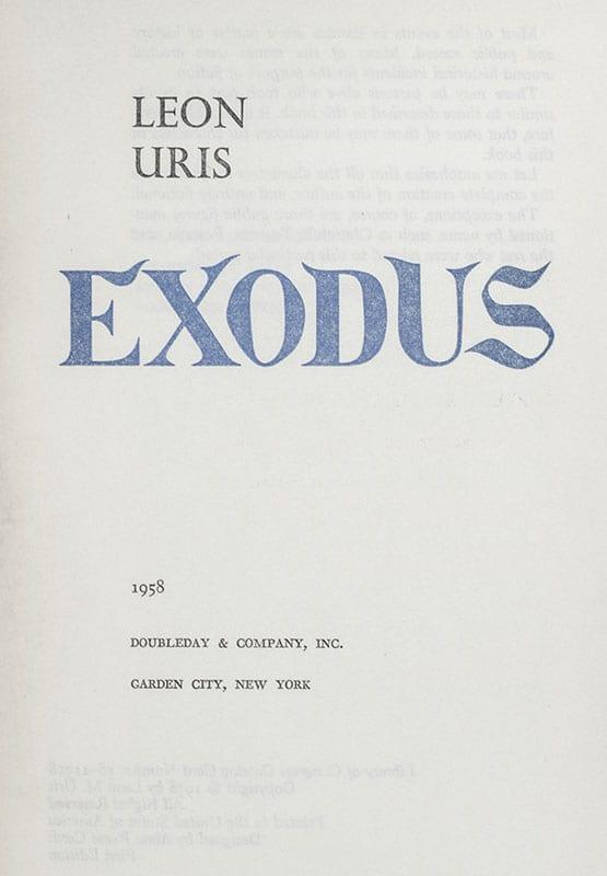 Exodus: A Novel of Israel.