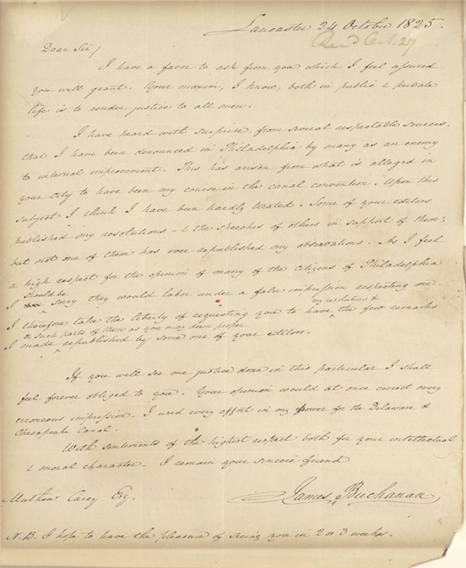 James Buchanan Autograph Letter Signed.