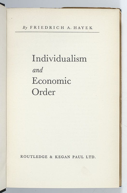 Individualism and Economic Order.