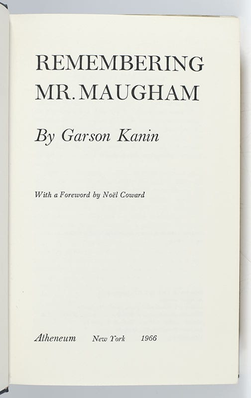 Remembering Mr. Maugham.