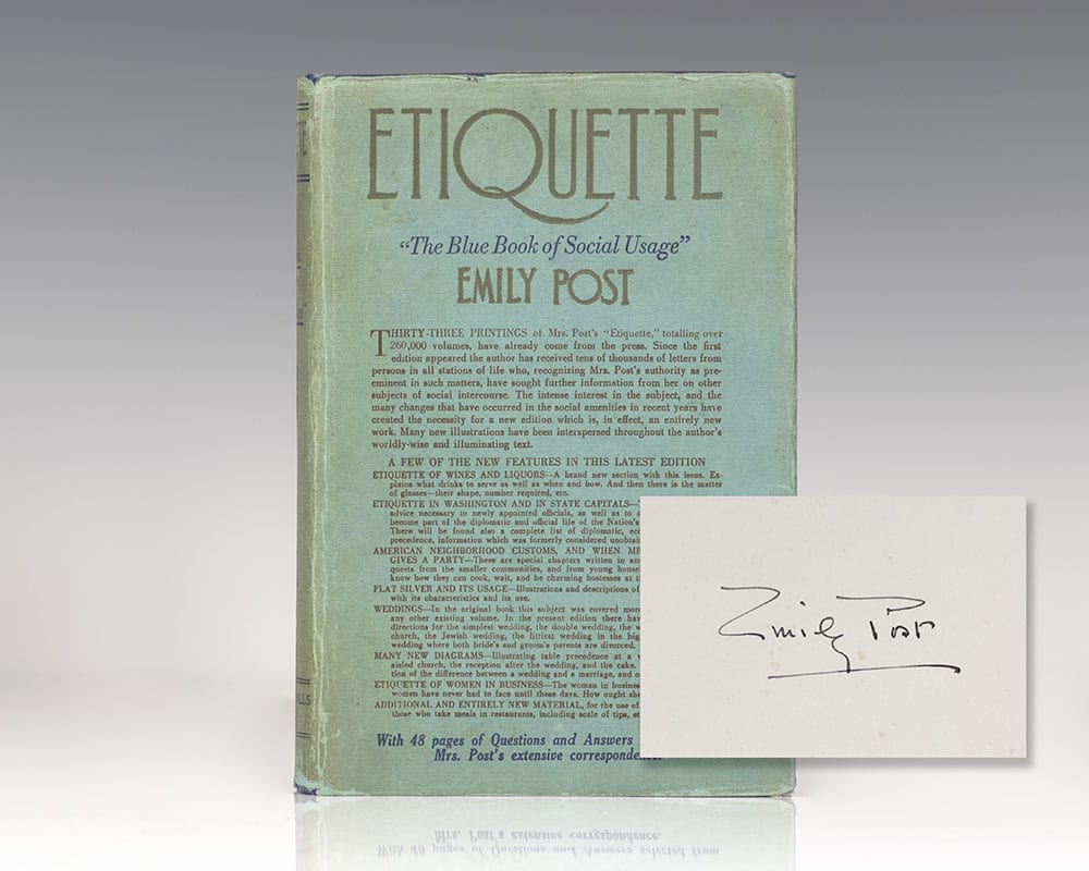 Emily Post Etiquette Book: Etiquette The Blue Book Of Social Usage Emily Post Signed