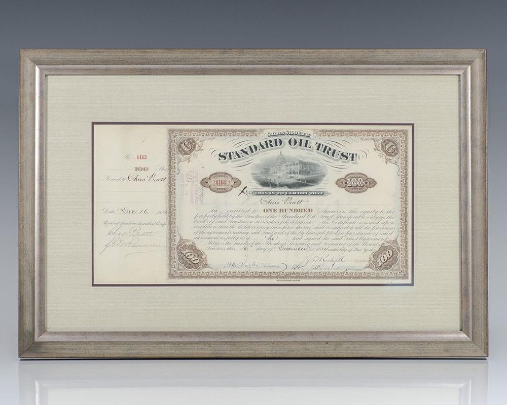 John D. Rockefeller and Henry Morrison Flagler Signed Standard Oil Stock Certificate.
