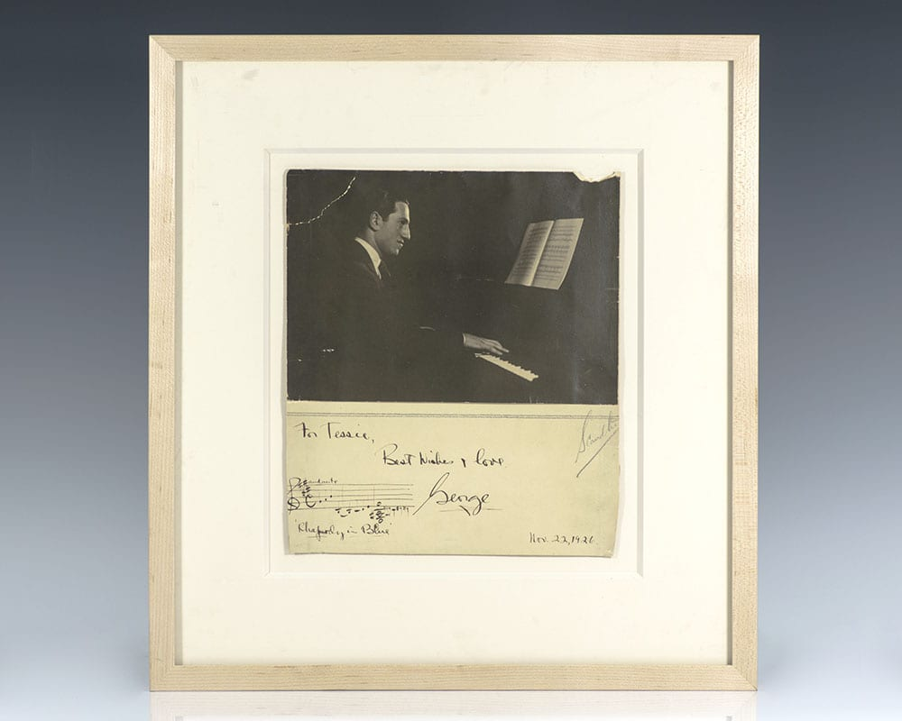 George Gershwin Rhapsody in Blue Musical Quotation Signed.
