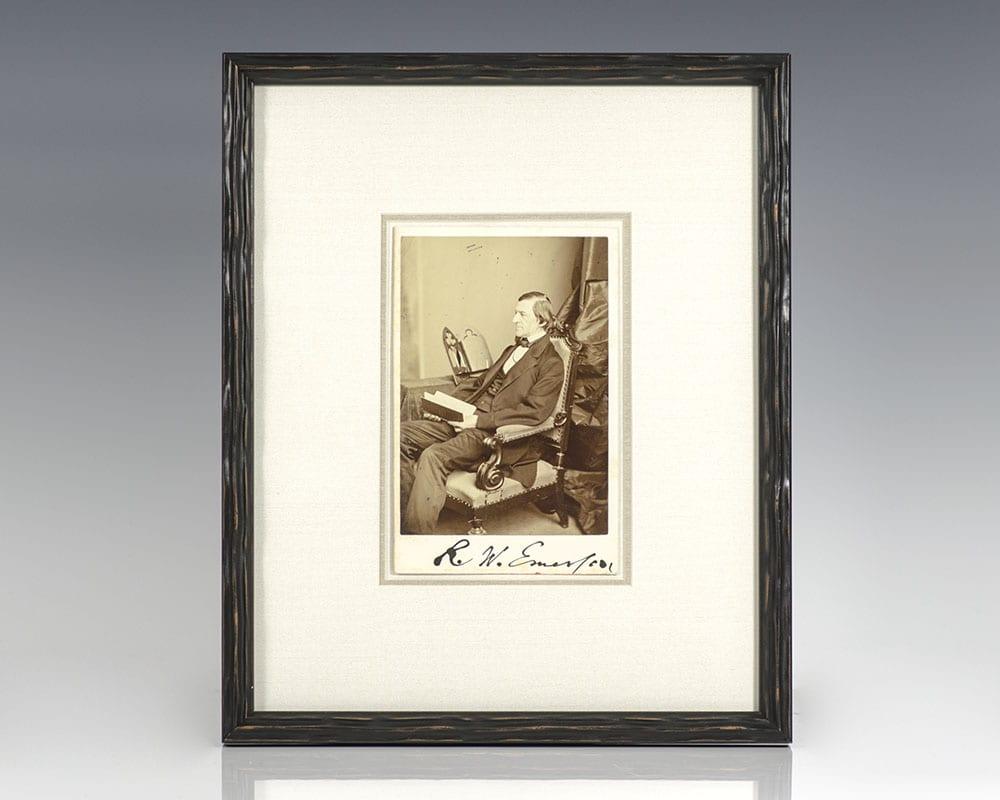 Ralph Waldo Emerson Albumen Photograph Signed.