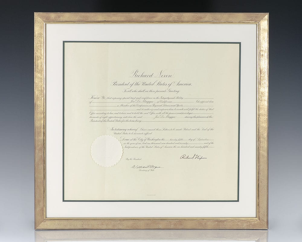 Joe DiMaggio Presidential Commission Signed by Richard Nixon.