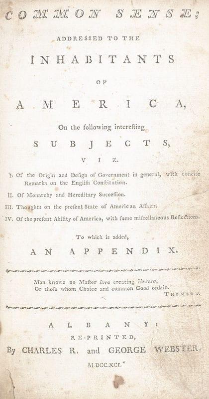 Common Sense; Addressed to the Inhabitants of America.