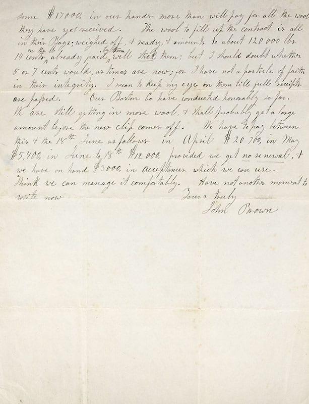 John Brown Autograph Letter Signed.