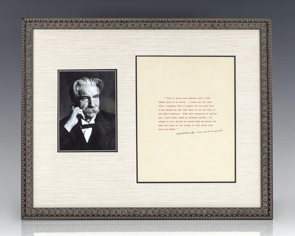 Albert Schweitzer Autograph Quote Signed.