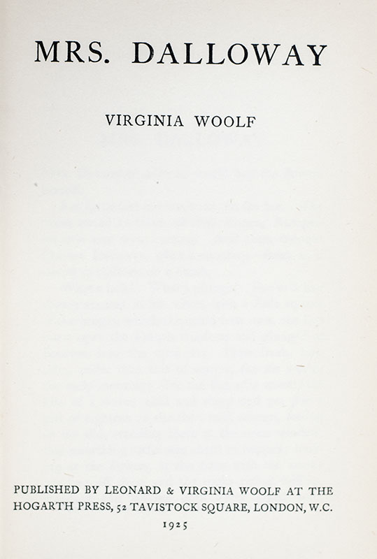 Mrs Dalloway.