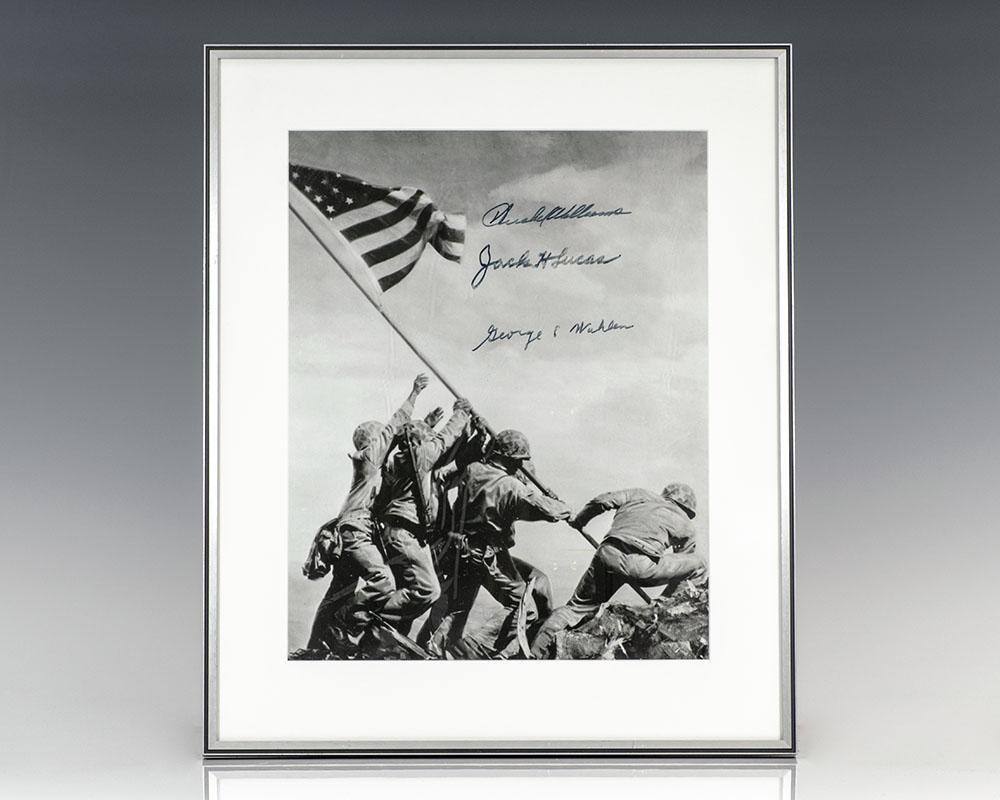 Original Joe Rosenthal Raising the Flag on Iwo Jima Photograph Signed.
