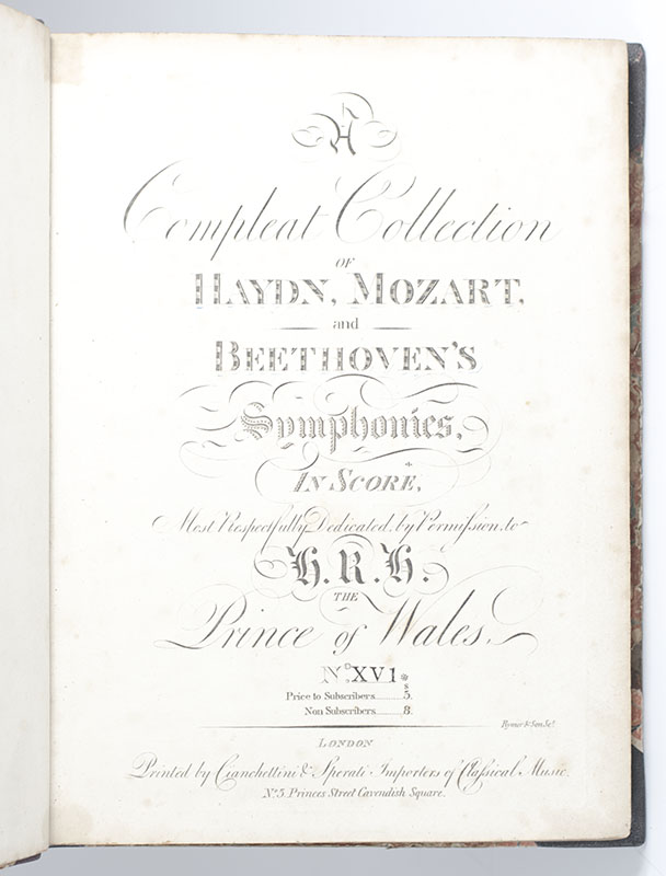 A Compleat Collection of Haydn, Mozart and Beethoven's Symphonies, in Score, Most Respectfully Dedicated, by Permission, to H.R.H The Prince of Wales.