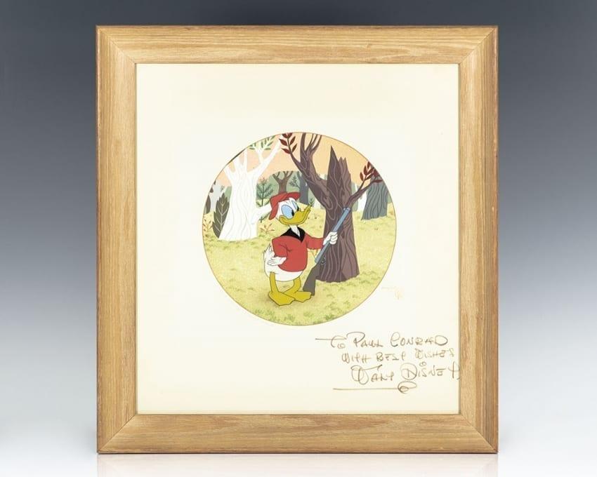 Original Walt Disney Donald Duck Drawing Signed.
