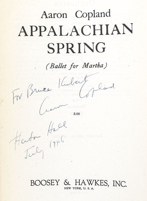 Appalachian Spring. (Ballet for Martha).