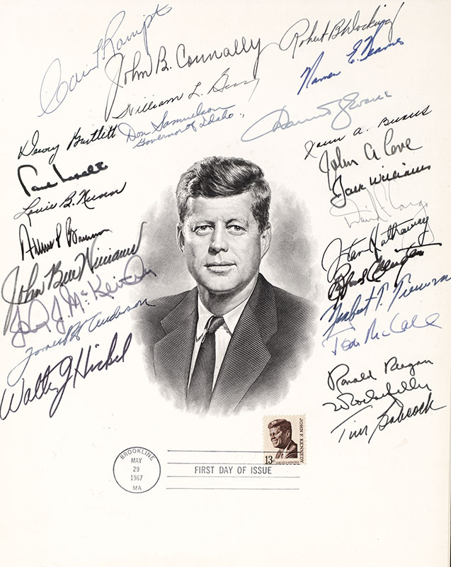 Ronald Reagan Signed John F. Kennedy Engraved Portrait.