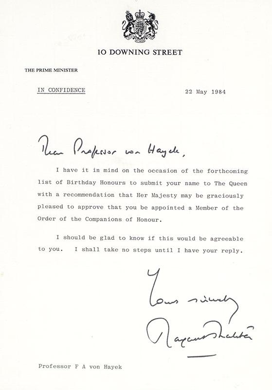 Margaret Thatcher Autograph Letter Signed to Friedrich von Hayek.