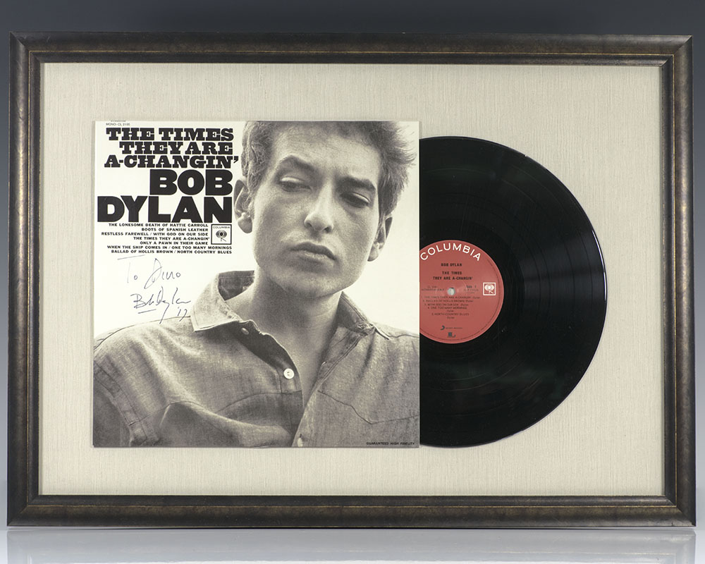 The Times They Are A-Changin' Bob Dylan Signed Vinyl.