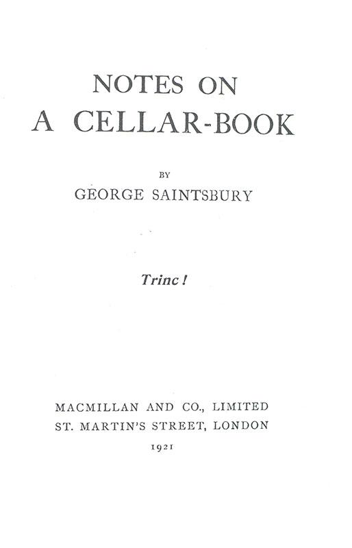Notes On A Cellar-Book.
