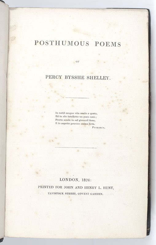 Posthumous Poems of Percy Bysshe Shelley.