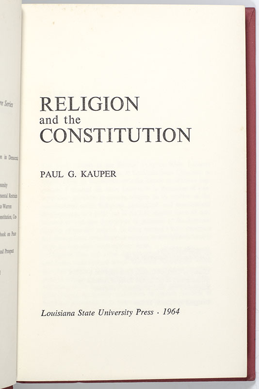 Religion and the Constitution.