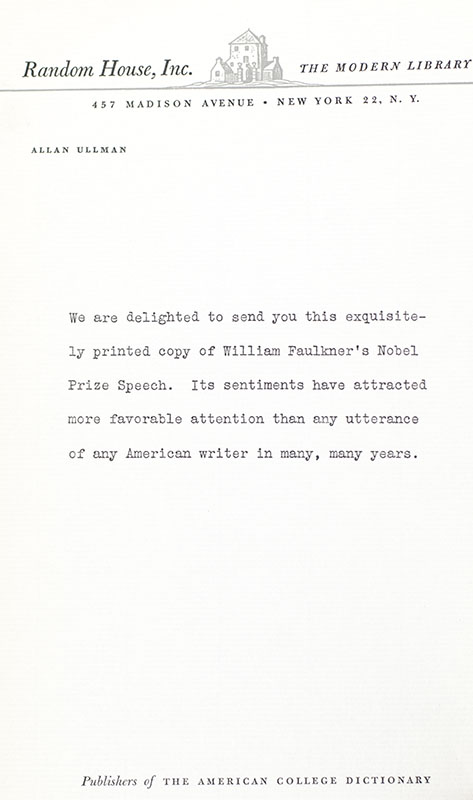 William Faulkner's Nobel Prize Acceptance Speech.