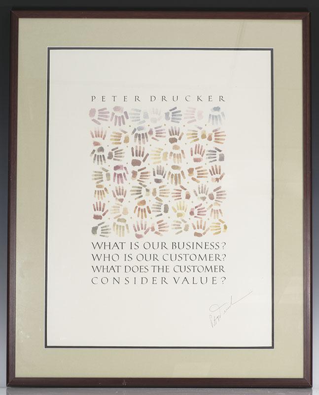 Peter Drucker Signed Framed Piece.
