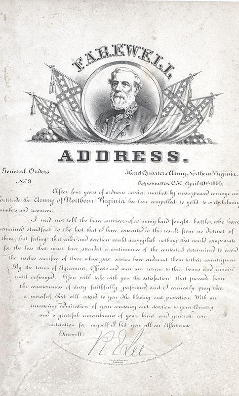 Robert E. Lee Engraved Farewell Address Broadside.
