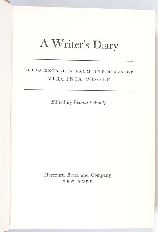 A Writer's Diary: Being Excerpts from the Diary of Virginia Woolf.