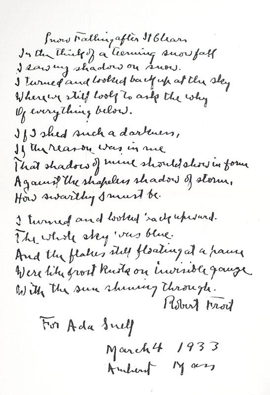 Original Robert Frost Autograph Poem Signed.