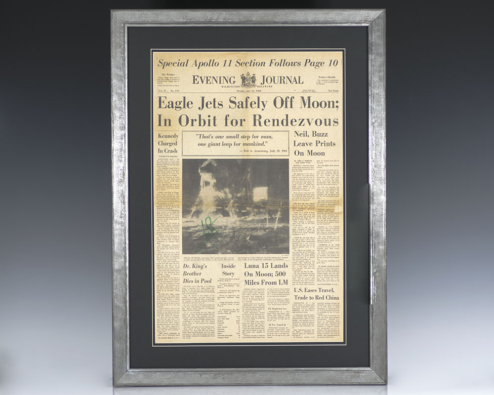 Neil Armstrong Signed Delaware Evening Journal.