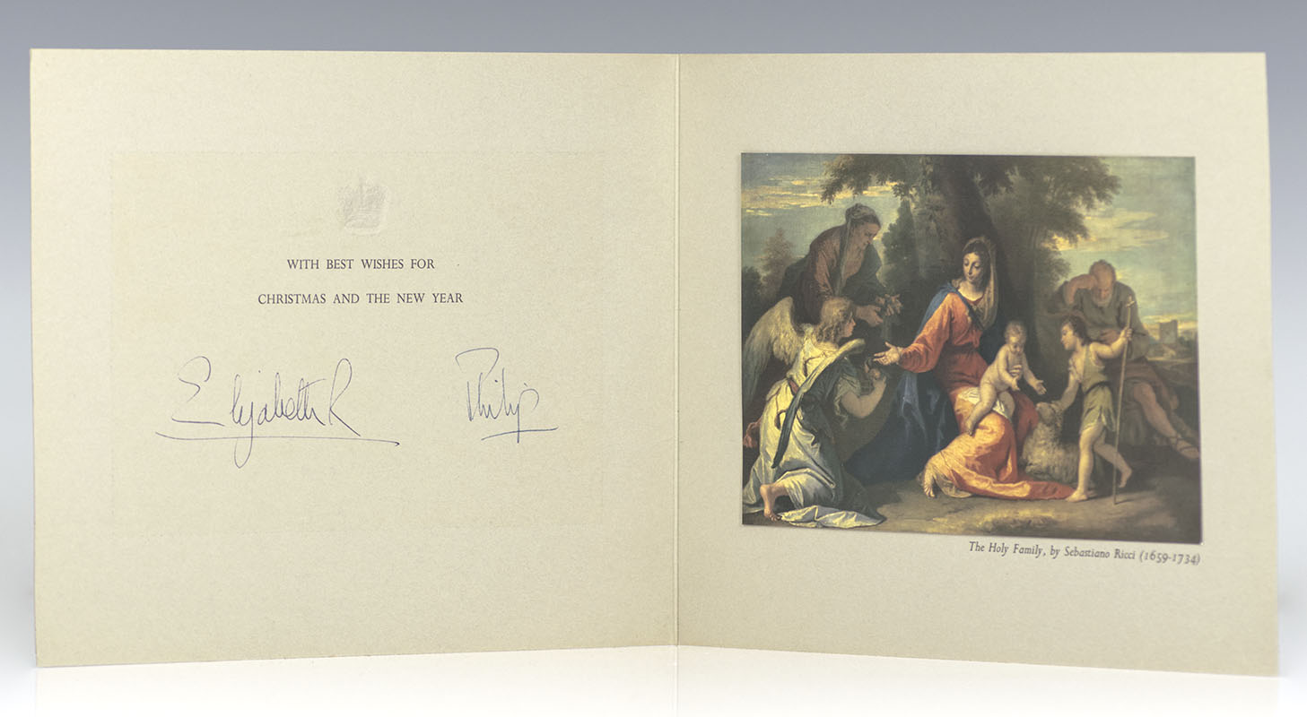 Queen Elizabeth and Prince Philip Signed Christmas Card.