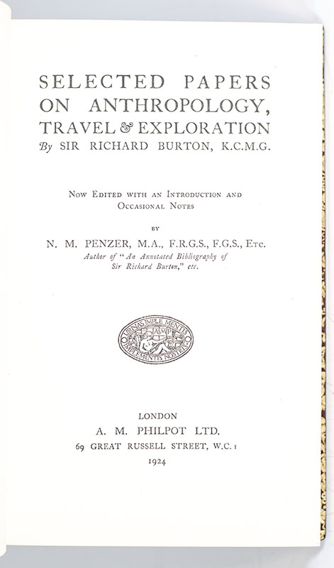 Selected Papers on Anthropology, Travel and Exploration.