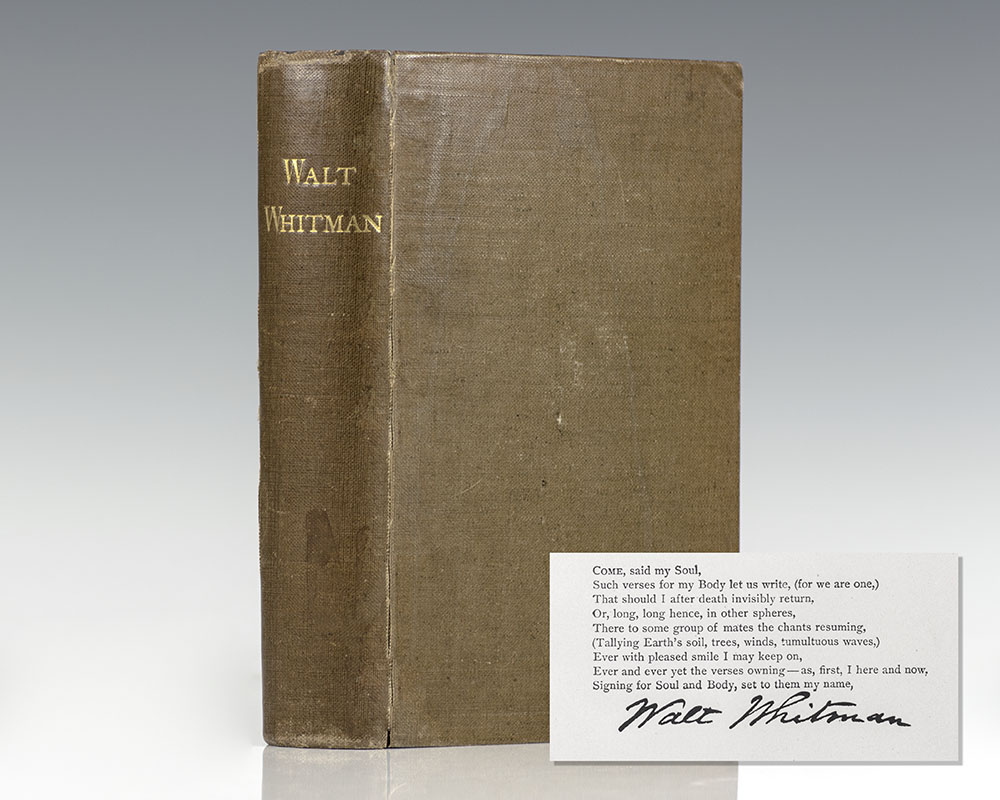 Complete Poems and Prose of Walt Whitman 1855 – 1888. Authenticated & Personal Book (Handled by W.W.)…Portraits from Life…Autograph.