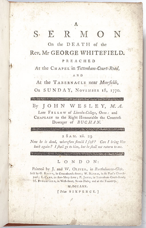 A Sermon on the Death of the Rev. Mr. George Whitefield.