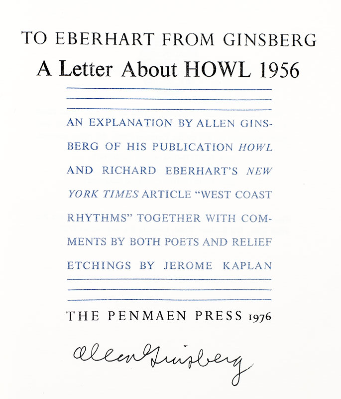 To Eberhart From Ginsberg: An Historic Document From the Beat Era Published Now For The First Time.