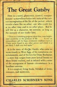 """The first issue jacket of the Great Gatsby, with the lowercase j in """"Jay"""""""