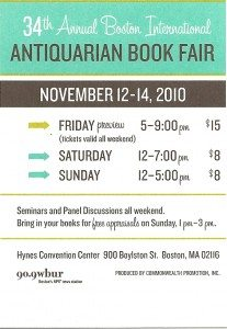 Boston Antiquarian Book Fair Dates