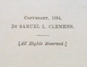 Huckleberry Finn first edition copyright page