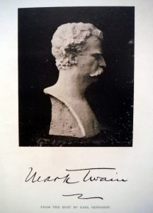 Mark Twain bust with cloth
