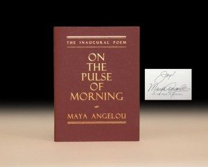 First Edition of On the Pulse of Morning, signed by Maya Angelou, rare